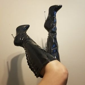 Platex laceup knee high boots